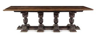 * An Italian Walnut Refectory Table Height 33 5/8 x width 116 7/8 x depth 35 7/8 inches.