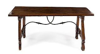 A Spanish Baroque Walnut Trestle Table Height 29 x width 61 1/2 x depth 27 1/2 inches.