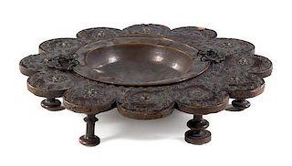 * A Spanish Baroque Walnut Brazier Height 7 x diameter 35 1/4 inches.