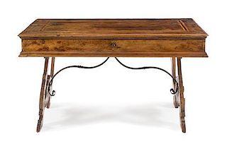 An Italian Inlaid Walnut Writing Table Height 33 x width 58 1/4 x depth 30 inches.