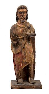 * A Mexican Painted and Carved Wood Figure of Saint John the Baptist Height 22 1/2 inches.
