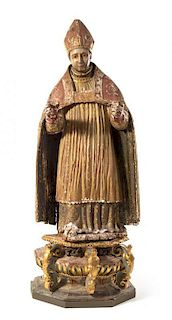 * A Spanish Wood Figure of a Bishop Height 69 1/4 inches.