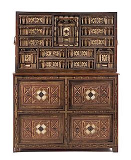 * A Spanish Painted, Parcel Gilt and Bone Inlaid Oak Vargueno Height 55 3/4 x width 42 3/4 x depth 17 1/2 inches.