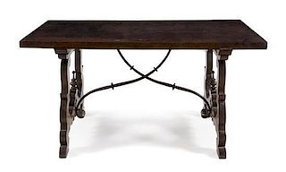 * A Spanish Baroque Walnut Trestle Table Height 32 1/2 x width 62 1/2 x depth 33 1/8 inches.