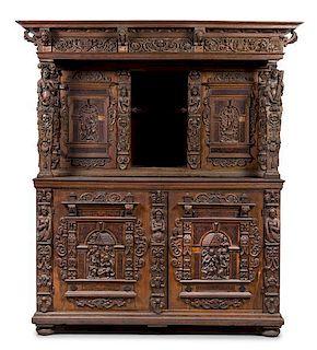 * A Flemish Walnut Cabinet Height 92 3/4 x width 72 x depth 23 5/8 inches.