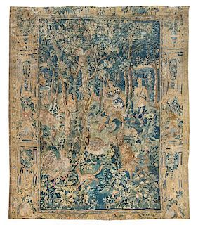 * A Flemish Wool and Silk Mythological Tapestry 8 feet 4 inches x 7 feet 8 inches.
