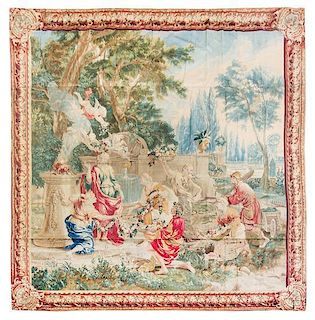 * A Flemish Wool Allegorical Tapestry 10 feet 10 inches x 10 feet 10 inches.