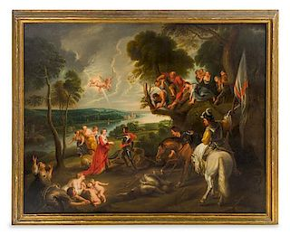 * Manner of Peter Paul Rubens, (18th Century), George and the Dragon in an Italian Landscape