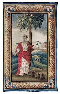 A Continental Wool Tapestry 7 feet 5 inches x 4 feet 9 inches.