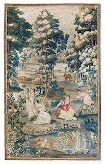 A Flemish Wool and Silk Tapestry 7 feet 10 inches x 5 feet 3 inches.