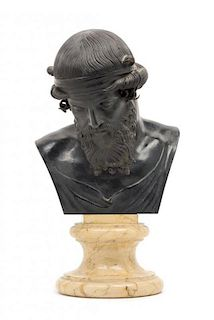 * A Continental Bronze Bust Height 15 3/4 inches.
