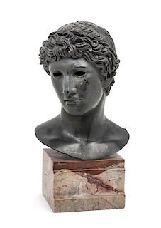 * A Continental Bronze Bust Height 16 3/4 inches.