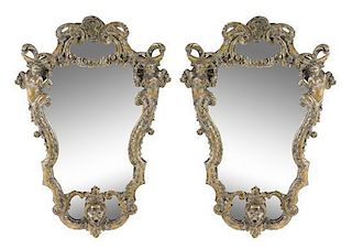 A Pair of Rococo Style Painted and Giltwood Mirrors Height 37 inches.