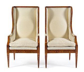 A Pair of Italian Marquetry and Parquetry Wingback Bergeres Height 51 1/4 x width 24 3/8 x depth 24 3/8 inches.