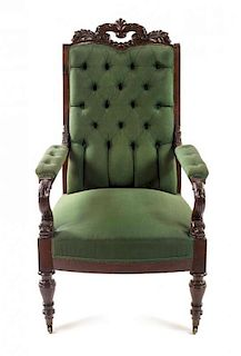 * An Italian Carved Mahogany Library Chair Height 44 inches.