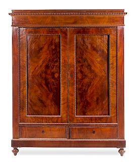 * A Continental Mahogany Armoire Height 94 1/4 x width 68 3/4 x depth 24 inches.