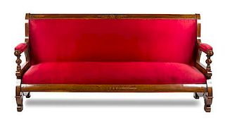 * An Italian Satinwood Inlaid Walnut Sofa Height 41 x width 84 x depth 20 1/2 inches.