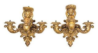 A Pair of Italian Giltwood Three-Light Sconces Height 17 1/2 inches.