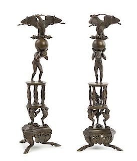 A Pair of Pompeian Style Bronze Table Ornaments Height 19 inches.