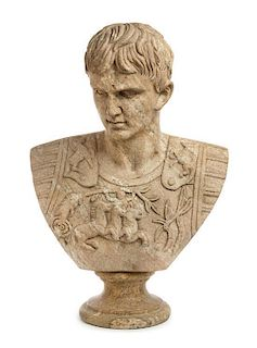 A Continental Carved Granite Bust Height 27 inches.