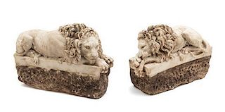 A Pair of Continental Carved Stone Figures Width 11 3/4 inches.