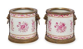 A Pair of Gilt Bronze Mounted Porcelain Jardinieres Height 9 3/4 inches.