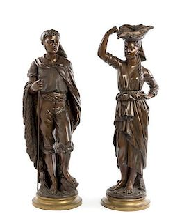 A Pair of Continental Bronze Figures Height of taller 31 1/4 inches.