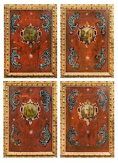 A Set of Four Italian Painted Panels Height 37 1/2 x width 25 inches.