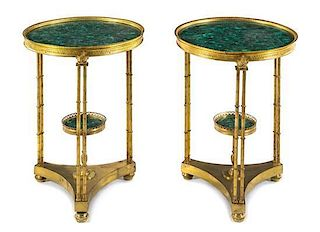 A Pair of Neoclassical Gilt Bronze and Malachite Gueridons Height 27 1/4 inches.