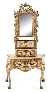 A Venetian Painted Dressing Table Height overall 77 x width 38 1/2 x depth 21 inches.