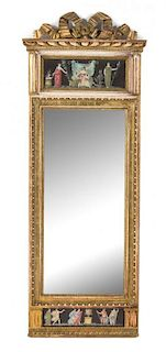 An Italian Neoclassical Giltwood and Verre Eglomise Pier Mirror Height 61 3/4 x width 23 1/2 inches.