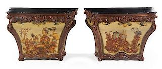 A Pair of Venetian Painted Pedestal Cabinets Height 35 x width 50 x depth 21 inches.