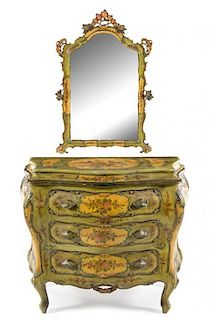 A Venetian Style Painted Commode and Mirror Height of commode 35 1/2 x width 43 1/2 x depth 21 inches.