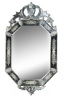 A Venetian Etched Glass Mirror Height 39 1/4 x width 22 1/4 inches.