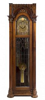 A German Gothic Revival Tall Case Clock Height 88 3/4 x width 29 1/4 x depth 17 3/4 inches.