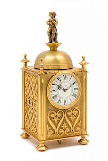 A Swiss Gilt Bronze Musical and Mechanical Clock Height 9 1/2 inches.
