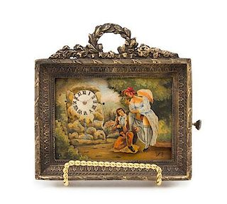 A Swiss Painted Metal and Brass Cased Erotic Desk Clock Height 4 3/4 x width 4 3/4 inches.
