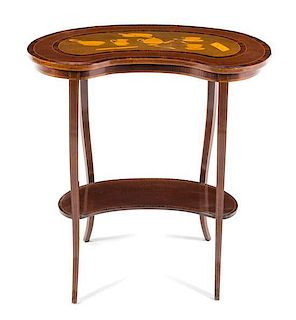 A Continental Marquetry Table Height 27 1/8 x width 27 x depth 16 inches.