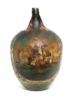 * A Dutch Painted Glass Bottle Height 29 x diameter 17 inches.