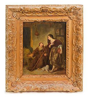 * Dutch School, (18th/19th Century), Old Man, Dog and Maid with Jug