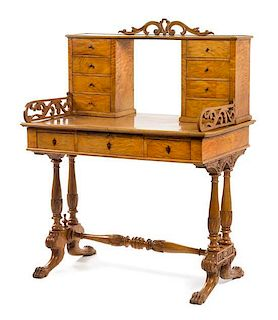* An Austrian Empire Birch Lady's Writing Table Height 49 1/2 x width 37 1/4 x depth 24 3/8 inches.