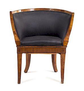 * A Biedermeier Mahogany Bureau Chair Height 30 inches.