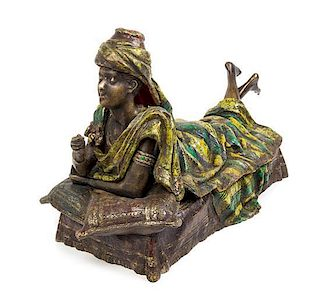 An Austrian Cold Painted Bronze Figure Length 29 inches.