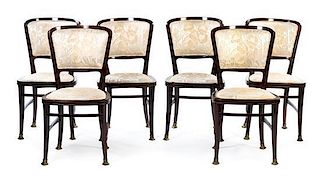 A Set of Six Brass Mounted Mahogany Dining Chairs Height 35 1/2 inches.