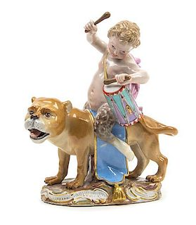 A Meissen Porcelain Figure Height 7 1/8 x width 6 inches.