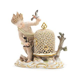 A Meissen Porcelain Figural Group Height 5 1/4 inches.