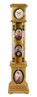 A Vienna Porcelain and Giltwood Tall Case Clock Height 73 1/4 inches.
