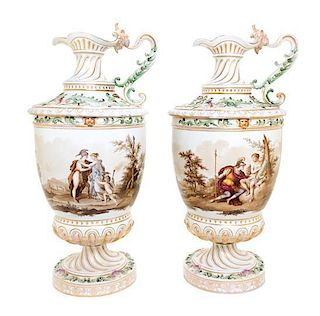A Pair of Berlin (K.P.M.) Porcelain Ewers Height 21 3/4 inches.