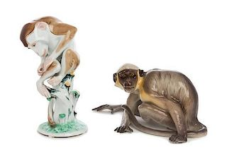 Two Continental Porcelain Figures Height of taller 9 1/8 inches.