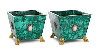 A Pair of Gilt Bronze and Cameo Mounted Malachite Jardinieres Height 6 7/8 x width 7 3/4 x depth 7 3/4 inches.